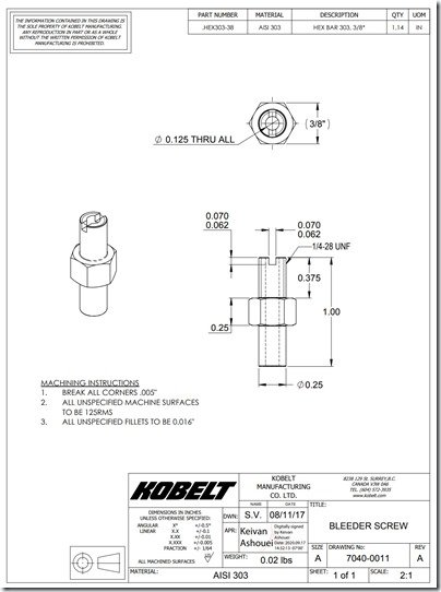 Kobelt 7080 Bleeder Screw dim dwg