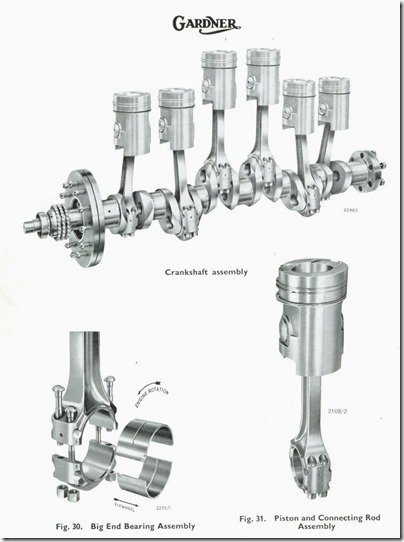 Gardner 6LXB crankshaft Con Rods Pistons   bearings illustration from manual