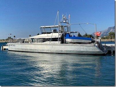 Port side shot Mobius at dock