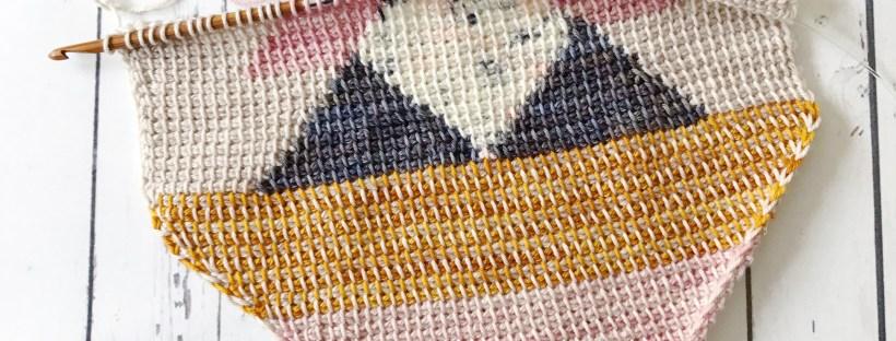 Tunisian crochet with intarsia colorwork