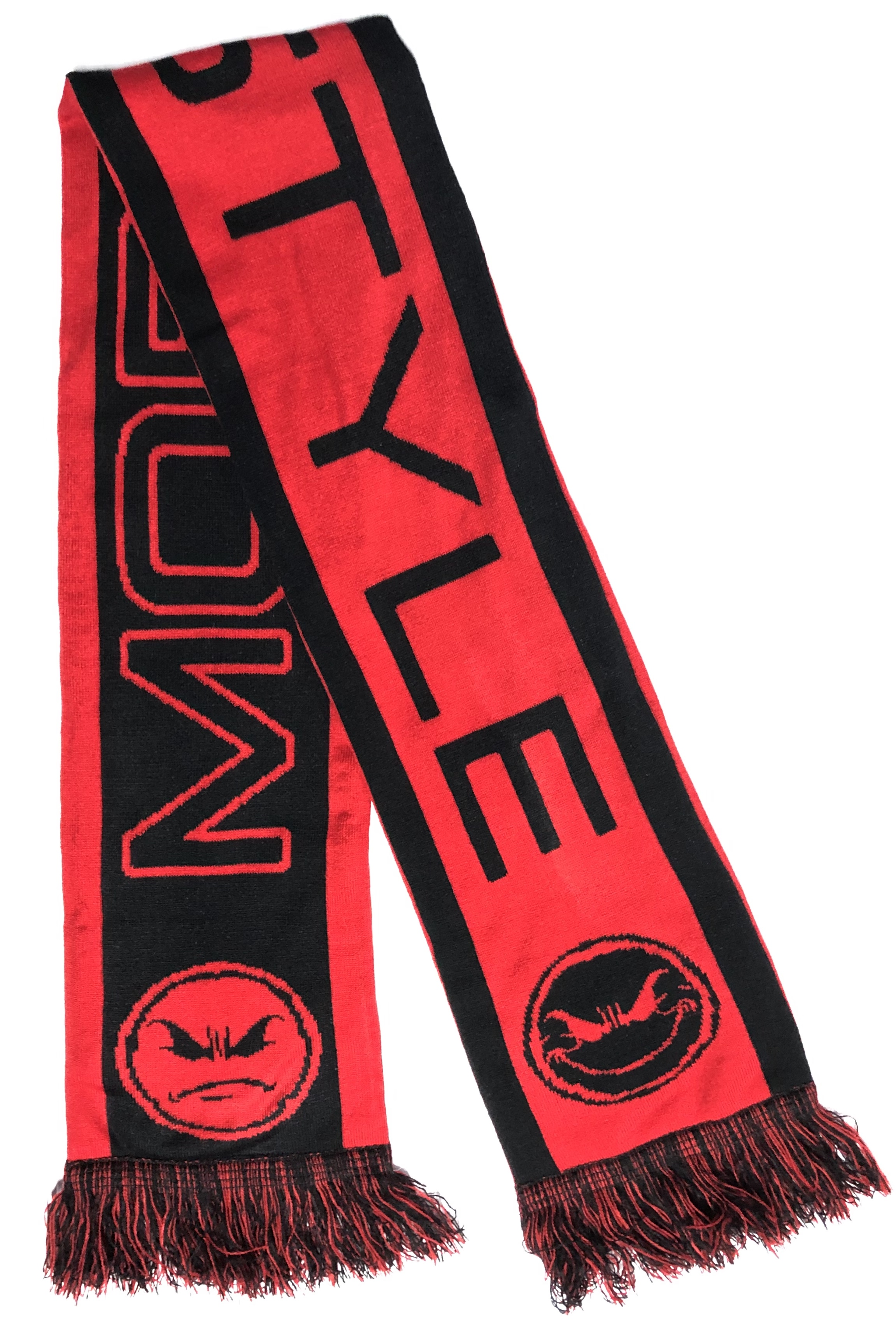"Mobstyle Knitted ""Mood Scarf"" (Blood Red & Hot Pink)"