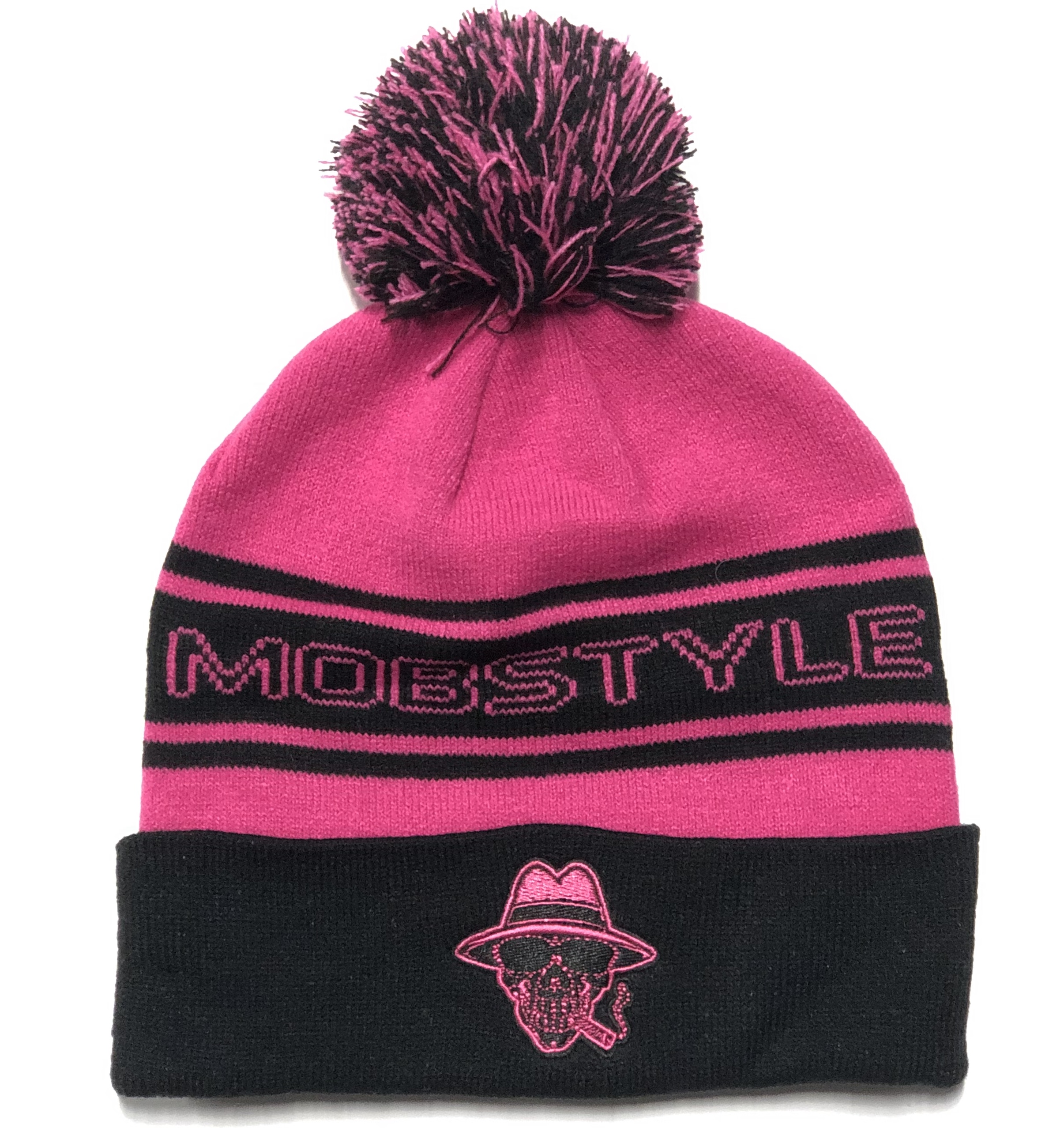 Mobstyle Knitted Puff Ball Hat (HOT PINK)