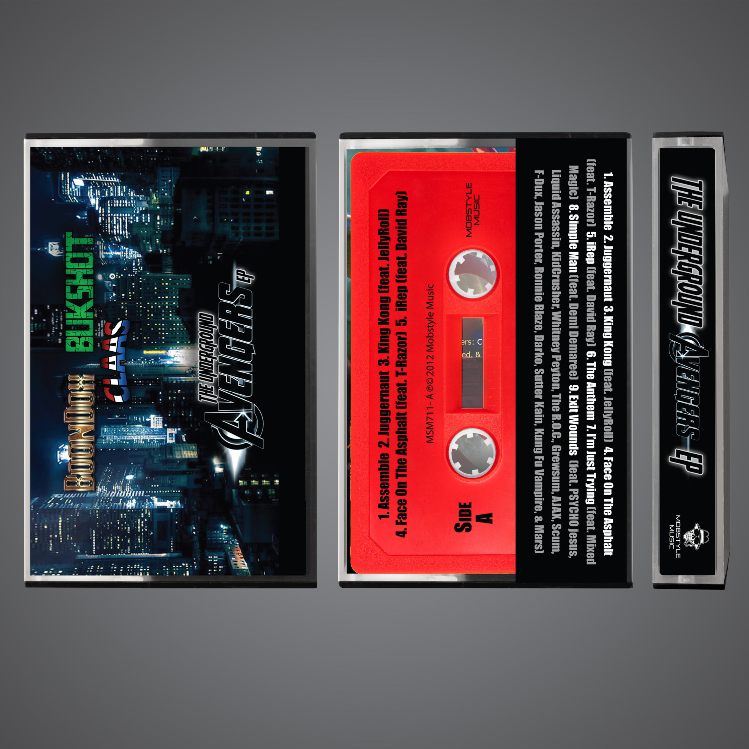 """Underground Avengers Cassette Tape! (RED SHELL) All Orders Come With A FREE & LIMITED Mobstyle """"Smoking Joe"""" 3″ Magnet!"""