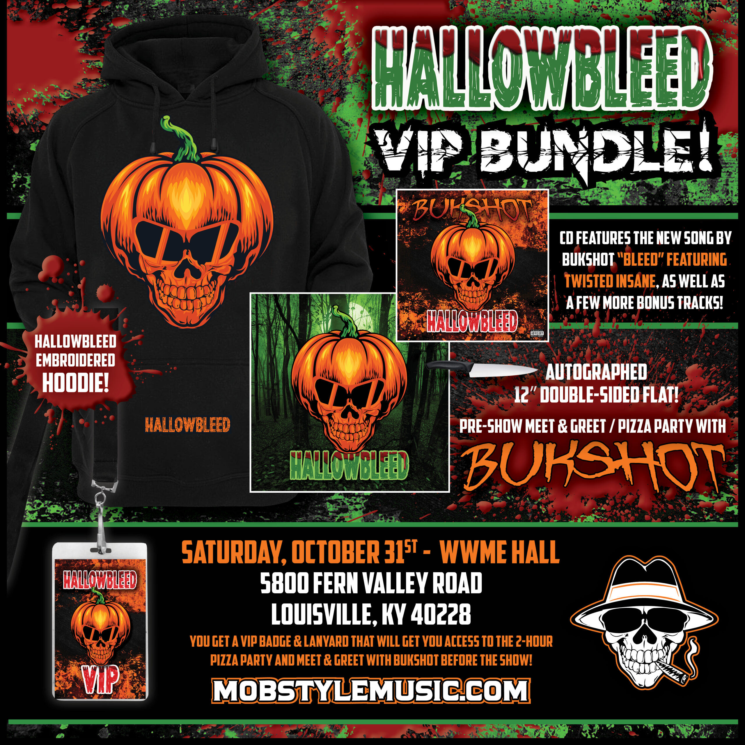 Hallowbleed VIP Bundle! All NEW Hallowbleed Hoodie, CD, 12″ Flat, VIP Pass & Lanyard, And Pizza Party Meet & Greet With Bukshot!