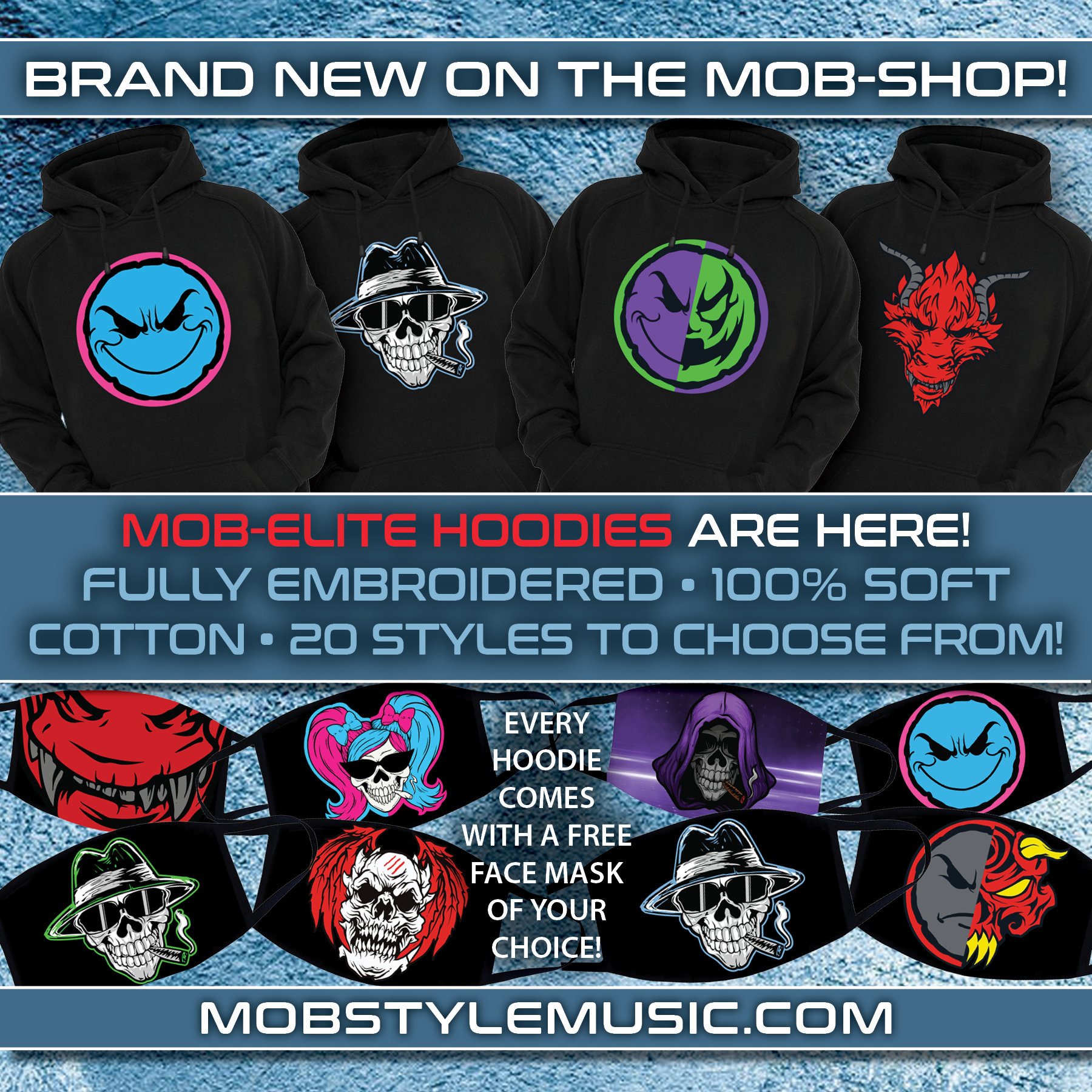 Mob-Elite Pull Over Embroidered Hoodie – 21 Styles To Choose From! Comes With FREE Face Mask Of Your Choice!
