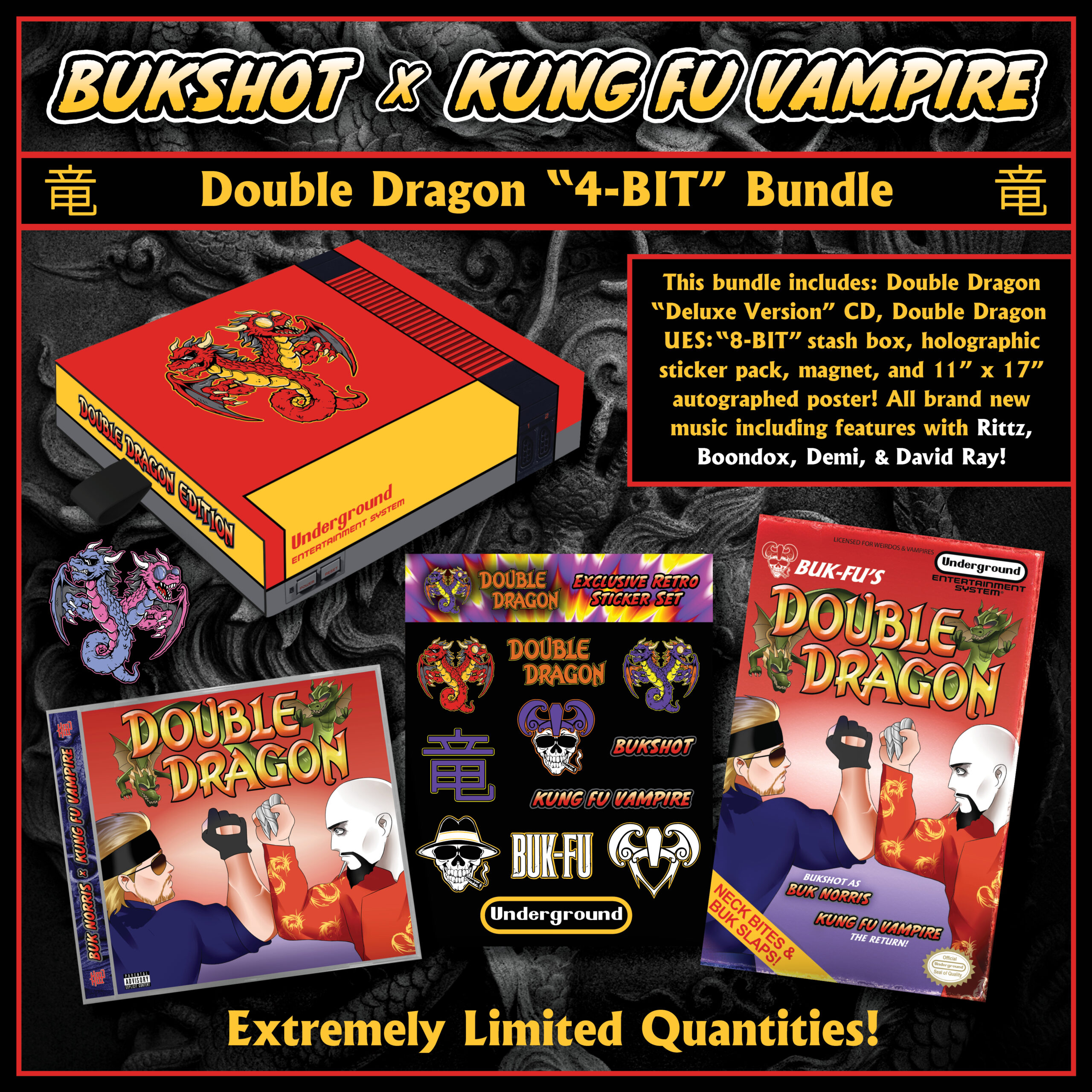 "Bukshot & Kung Fu Vampire ""Double Dragon"" 4-BIT Partial Box Set (PLEASE READ! Complete 8-Bit Box Sets Are SOLD OUT!"