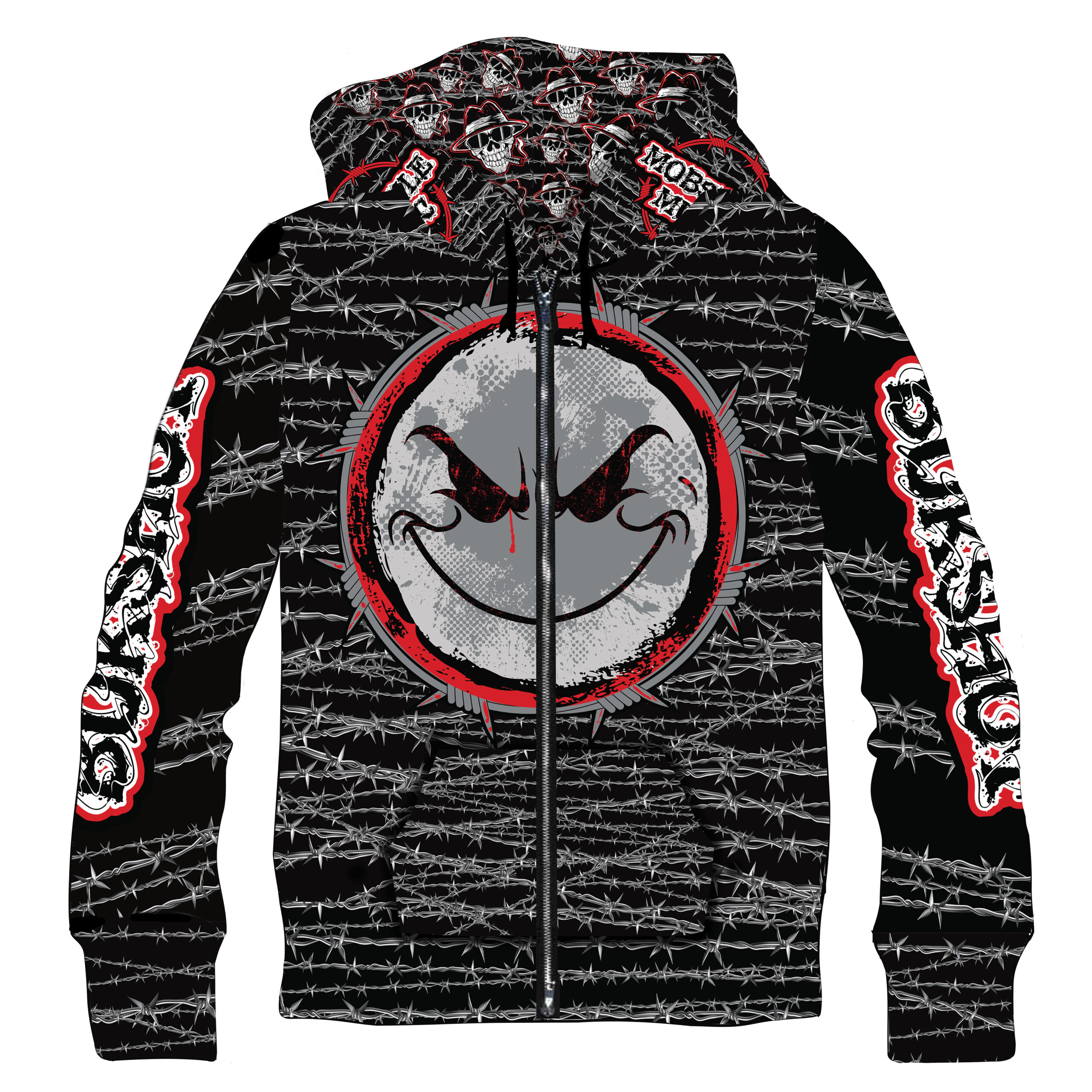 """Weirdo """"Barbed Wire"""" ZIP UP Sublimated Hoodie! (LIMITED QUANTITIES!!!)"""