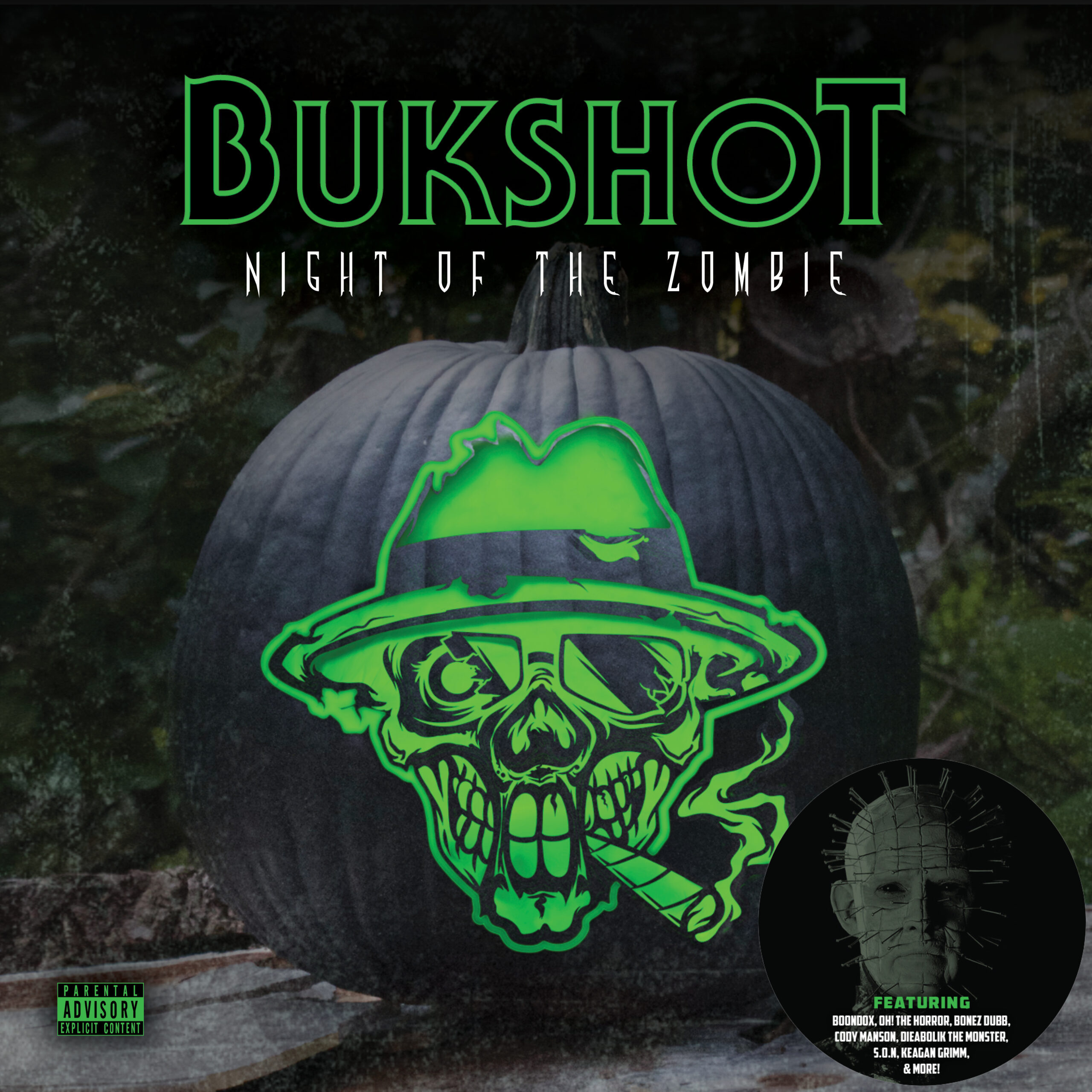 """Bukshot """"Night Of The Zombie"""" CD (Your Choice Of Pinhead Or Freddy Krueger Collectible Sticker!)"""