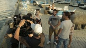 Filming Hollywood beach scene in Montreal
