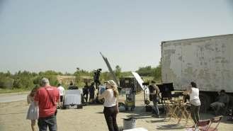 Filming desert scene