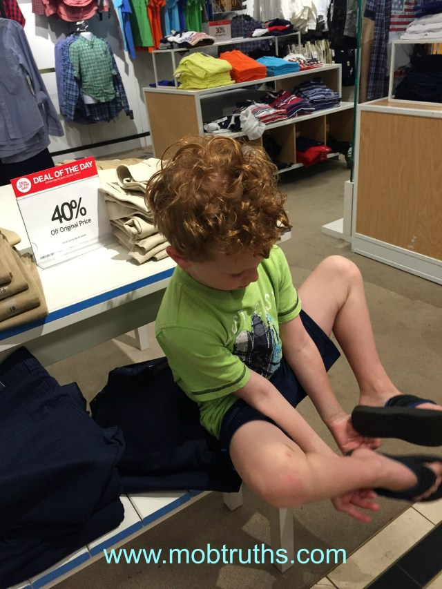 School shopping -- with a son