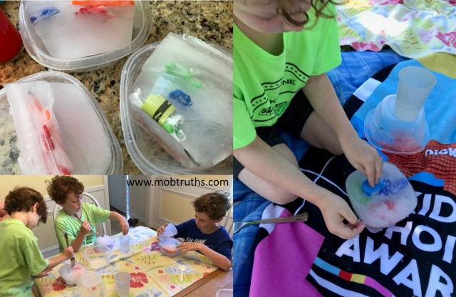 Ice excavation lets the kids look for treasure while engaging in sensory play and developing strategies.