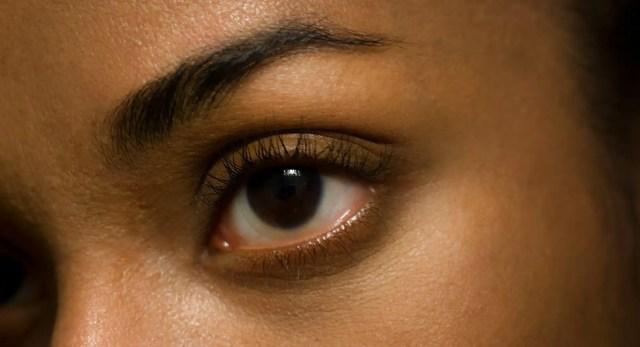Eye with curled eyelashes and no mascara