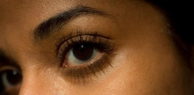 Eye with two coats of Ere Perez mascara