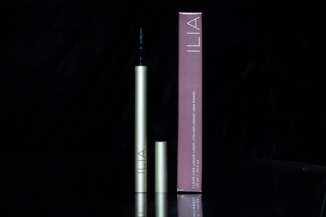 Ilia liquid liner and box on black background