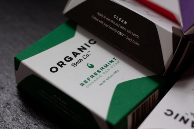 Organic Bath Co. Refreshmint Bar Soap packaging on slate board