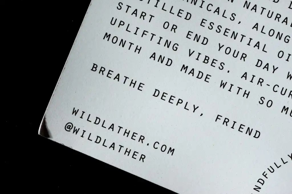 "Wild Lather note to customer reading ""Breathe Deeply, Friend"""
