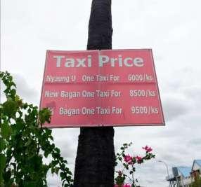 Precios de los Taxis en Bagan