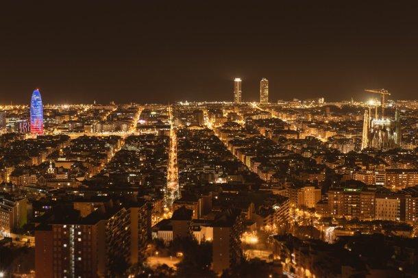 Panorámica de Barcelona de noche