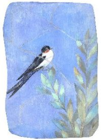 空の短詩・つばめ(個人蔵)フレスコ画 模写 / 漆喰、顔料 / Fresco/ Affresco Mari Mochizuki