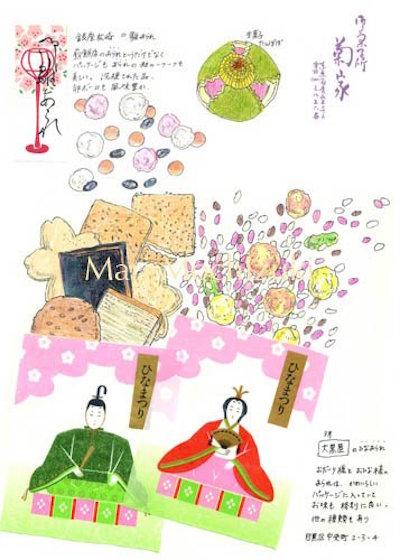 「麻里の美味しいノート」美味しいものや素敵なパッケージをコラージュし、まとめたもの。