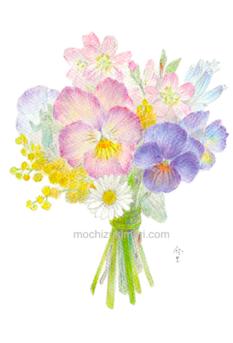 「春の庭にて」望月麻里(鉛筆、色鉛筆)素材:アラベール(画用紙のような質感)illustrated by Mari Mochizuki