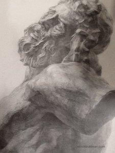 受験生時代の石膏デッサン ラオコーン像(部分)