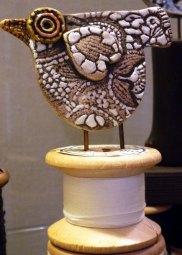 Ceramic Bird On Cotton Reel © Jan Lane