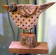 Ceramic Bird On Wood Stand © Jan Lane
