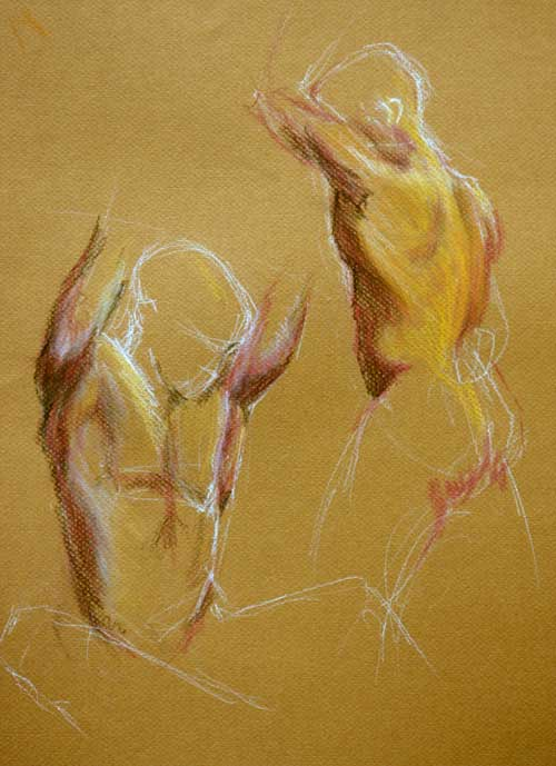 Pastel and chalk on toned paper