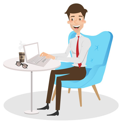 Cartoon image of a man sitting at a desk typing on a laptop.