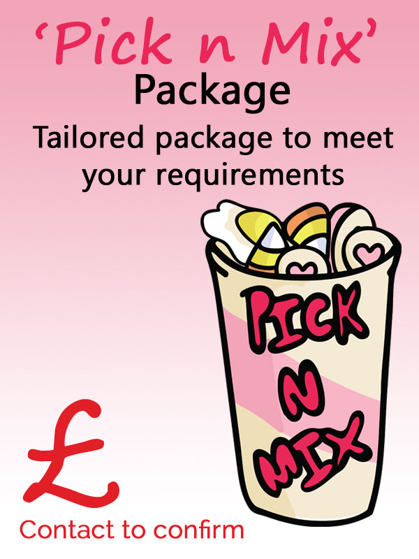 The Pick N Mix package which is tailored to your requirements. Contact form on the website to confirm requirements and cost.