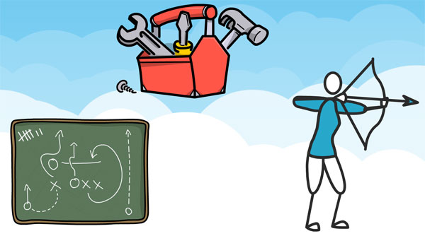 Cloud background with a plan drawn on a chalk board, toolbox and man with an bow and arrow about to fire