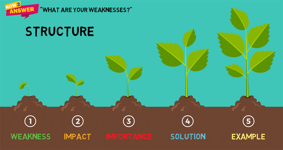 5 images of plant growth getting larger with the words weakness, impact, importance, solution and example underneath them.