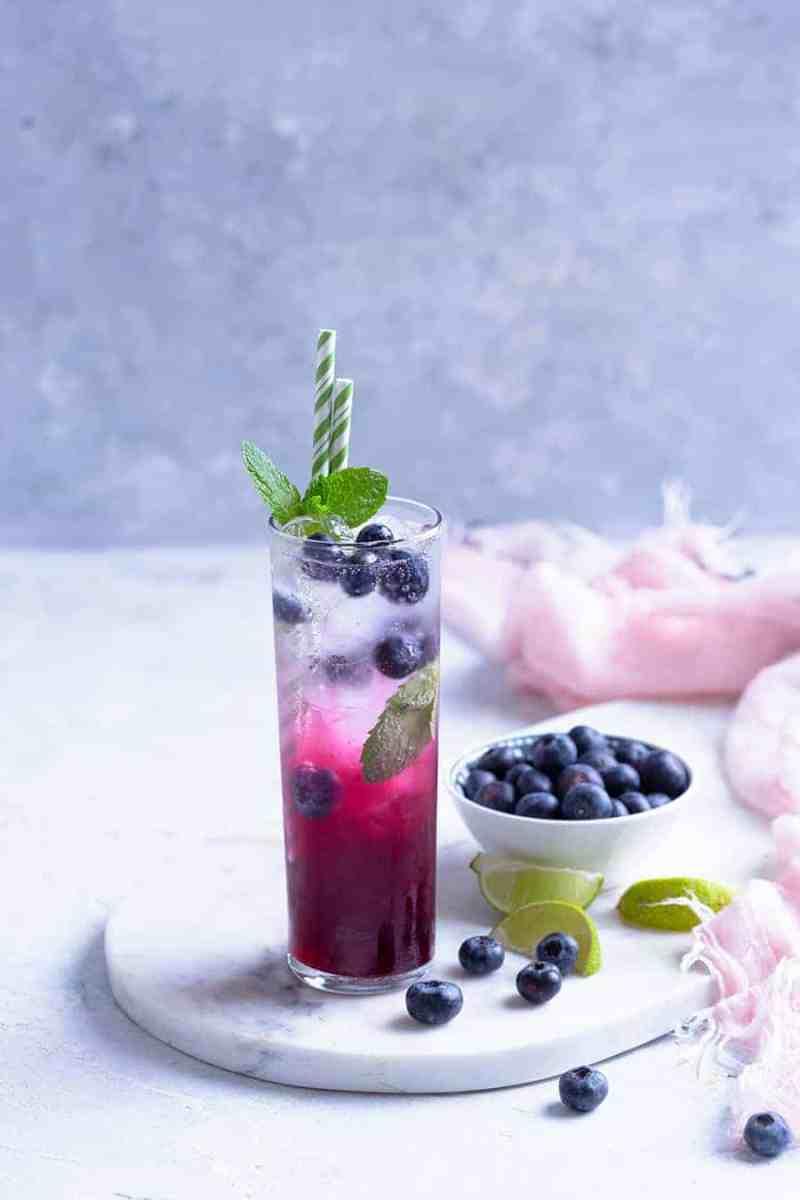 Blueberry Ginger Refresher - Fruit Refreshers Recipe Online - Easy Mocktails Recipes
