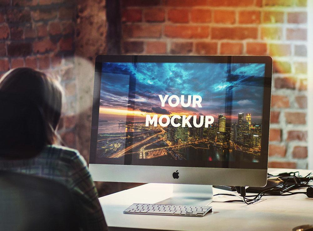 27in Apple Imac Office Table Mockup Mockup Love