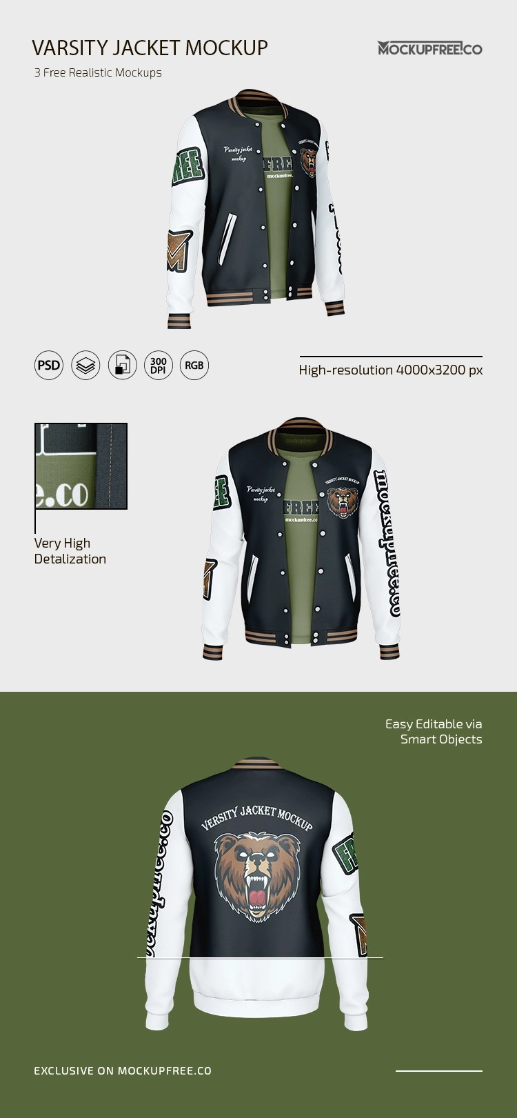 Magazine, book, stationery, apparel, device, mobile, editorial, packaging, business cards, ipad, macbook,. Free Varsity Jacket Mockup Mockupfree Co