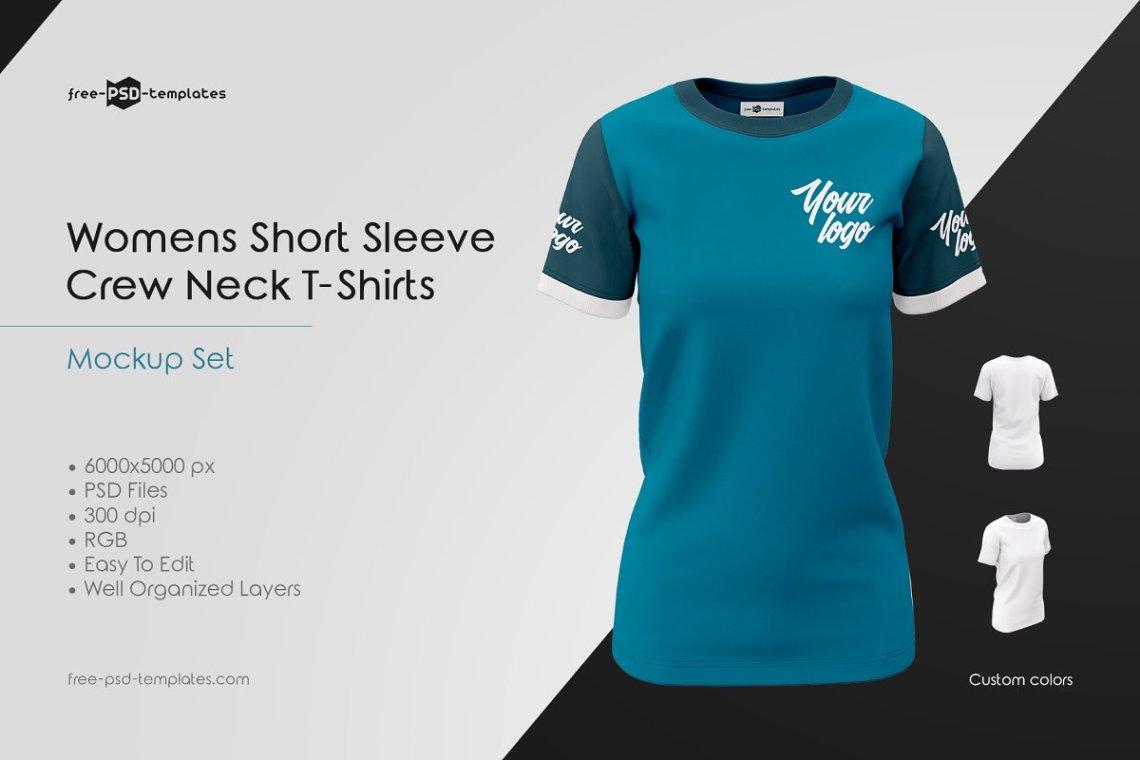 Download Womens Crew Neck T-Shirts MockUp Set | Download