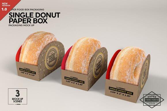 Download Single realistic Donut Box Packaging Mockup - Mockuphut