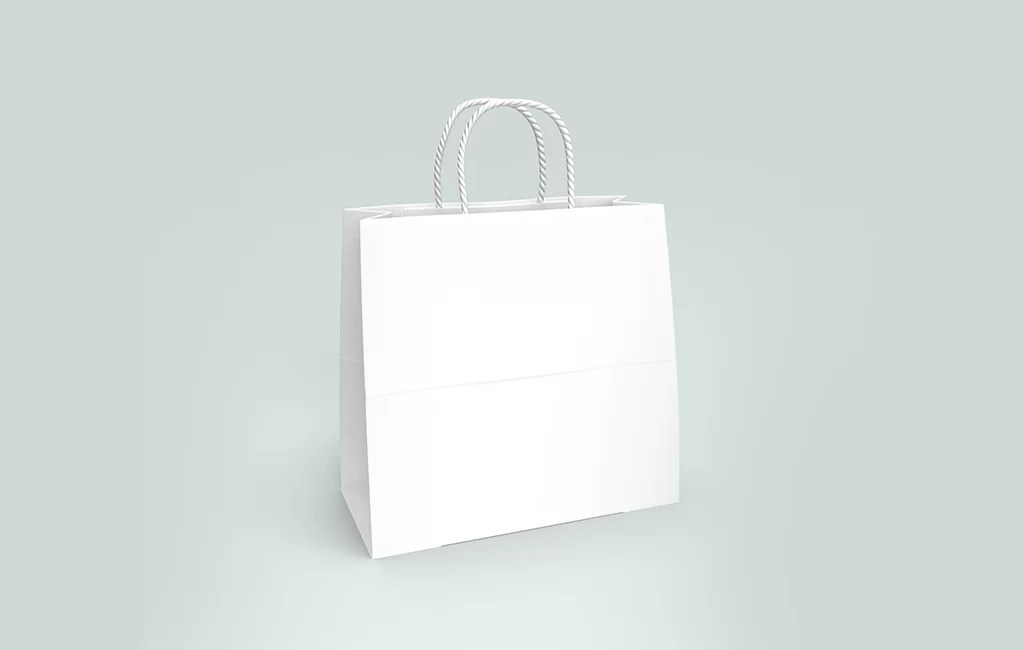 The mockups can be customized. White Paper Bag Mockups Mockups For Free