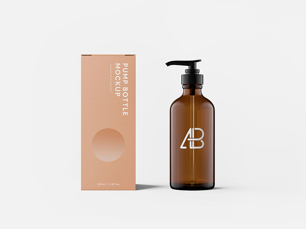 Download Free Pump Box with Bottle Mockup | Mockuptree