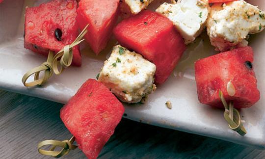 Happy hour appetizer watermelon feta