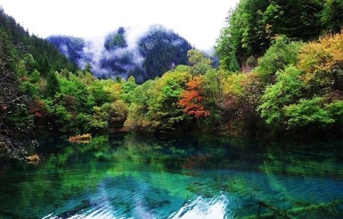 valley Jiuzhaigou -Valley of Nine Villages- is a spectacular national park-Sierra Min Shan, China 11