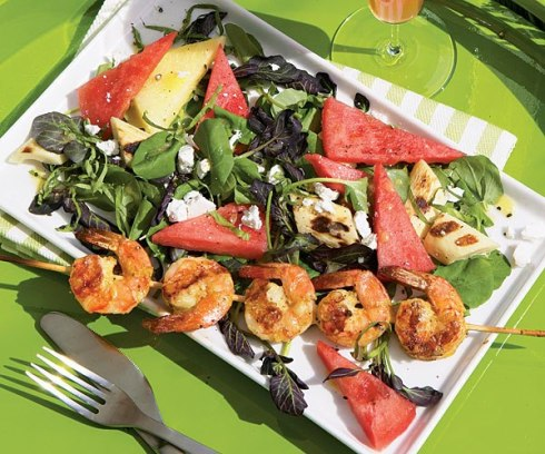 salad with tomato, shrimp and watermelon