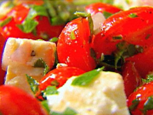 healthy salad with tomato feta and watermelon