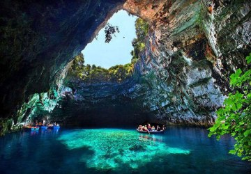 inseide the wonderful Melissani cave in Cephalonia