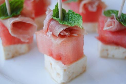 easy and refreshing watermelon Proscuitto Appetizer