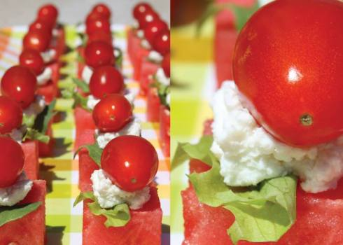 easy and refreshing watermelon, cheese and tomato treat