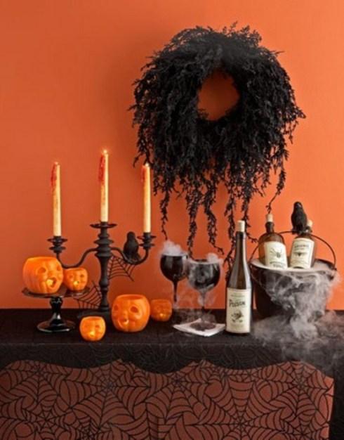 indoor halloween decorating ideas with pumkin 3