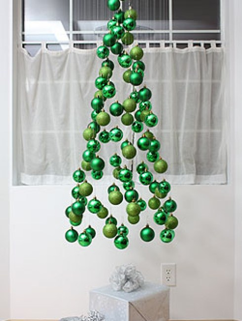 creative christmas decor with green ornaments